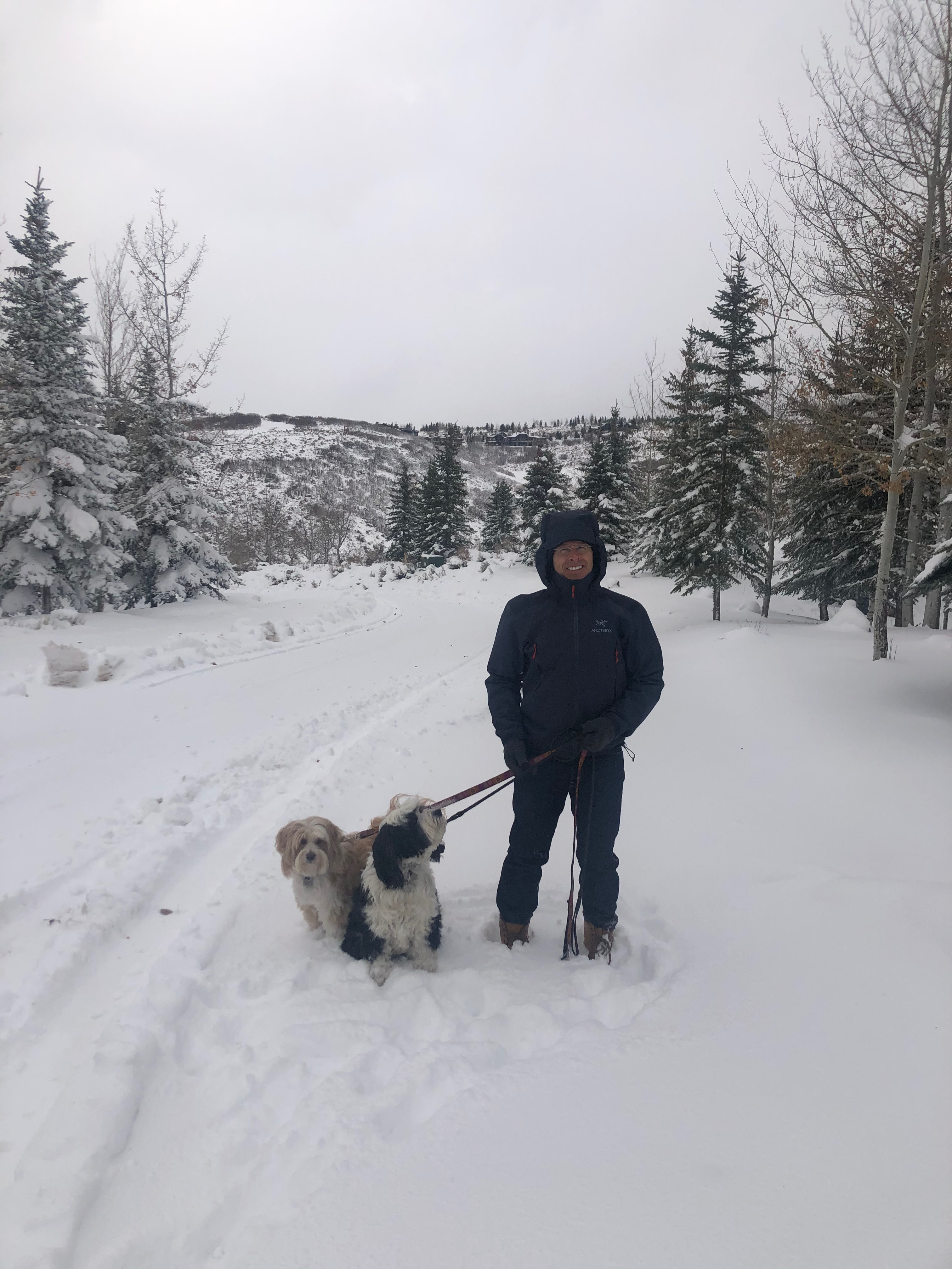Papa Carhart with the dogs in the snow