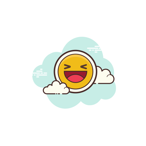 Smiley emoji overlayed on a cloud icon